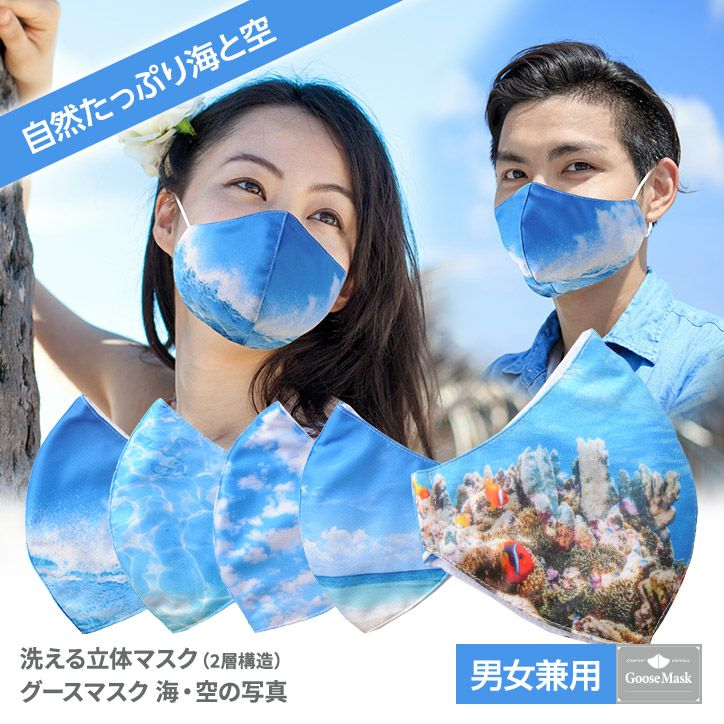 デザインマスク 海・空の写真(洗える2層立体構造) グースマスク1